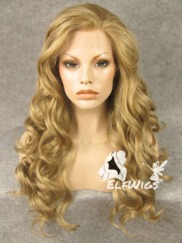 SD074-24'' Charming Straw berry blonde wave synthetic lace front wig