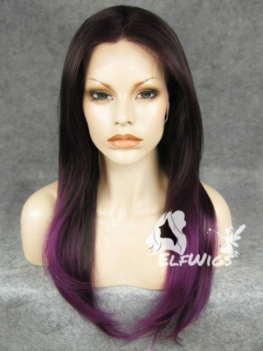 SD076-24'' Shoulder length black ombre purple straight synthetic lace front wig