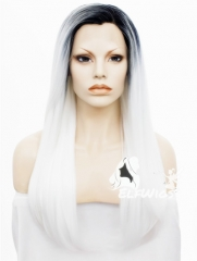 SD087-24'' Length black ombre white straight synthetic lace front wig