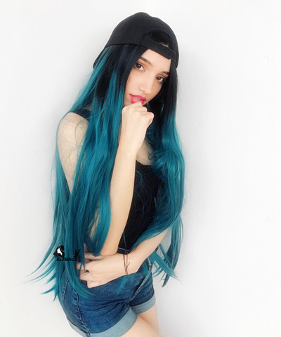 SD021-26'' Fascianating black ombre teal blue straight synthetic lace front wig