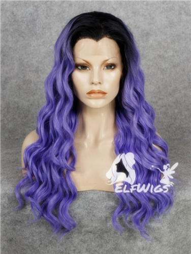 SD068-24'' Long medium slate blue with dark roots wavy heat resiatance synthetic lace front wig
