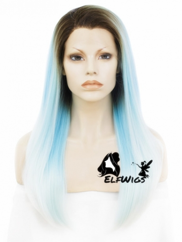 SD056-24'' Long light blue ombre cyan with dark roots straight synthetic lace front wig