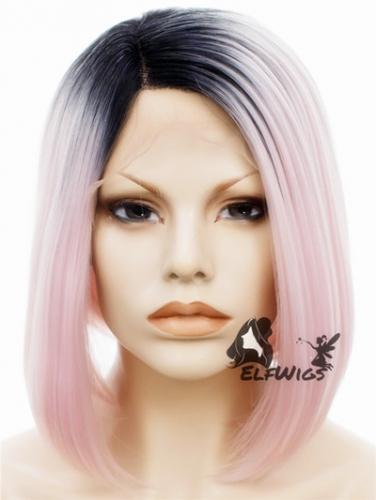 SD024-14'' Cute light pink with dark roots angled bob synthetic lace front wig