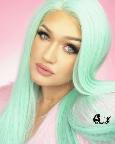SD047-24'' Turquoise wavy synthetic lace front wig