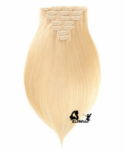 Platinum blonde Indian Remy Clip-in Hair Extensions-HP613
