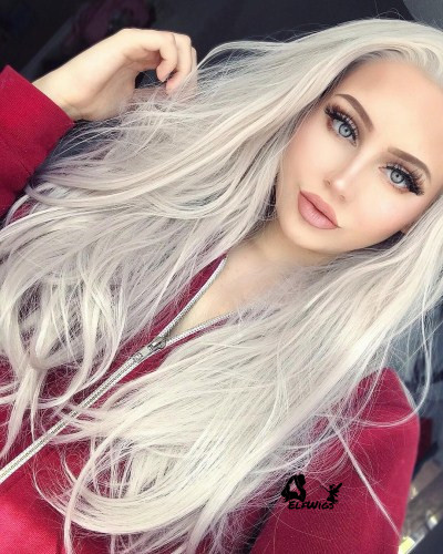 SD020-24'' Silver gray straight synthetic lace front wig