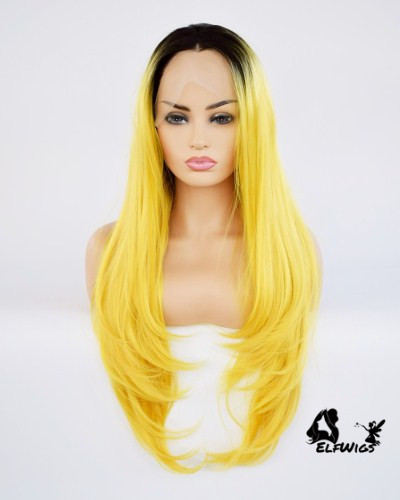 "SD039-24"" Stylish lemon yellow with dark roots Synthetic Lace Front Wig"