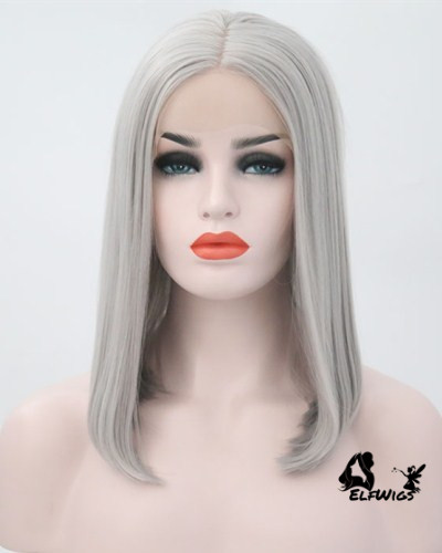SD023-14'' Charming shoulder length Silver gray straight synthetic lace front wig
