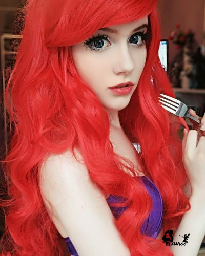 SD028-24'' Little mermaid hot red wavy synthetic lace front wig