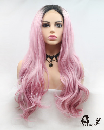 "UP004-24"" 2019 most fashionable new pink wave u-part lace wig"