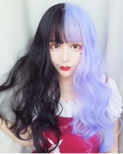 "QJ007-24"" 2019 the most fashionable new half black half purple wefted cap wig"