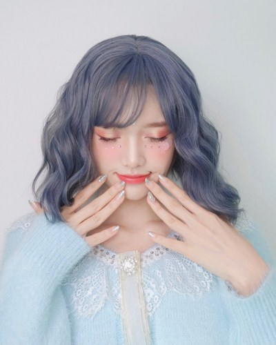 "QJ001-14"" 2019 the most fashionable new blue wefted cap wig"