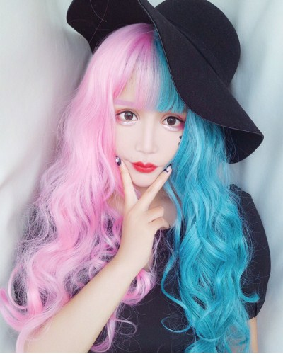 "QJ006-24"" 2019 the most fashionable new half powder half blue wefted cap wig"