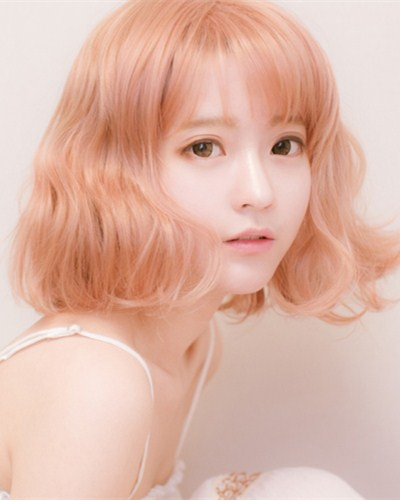 "QJ005-14"" 2019 the most fashionable new peach wefted cap wig"