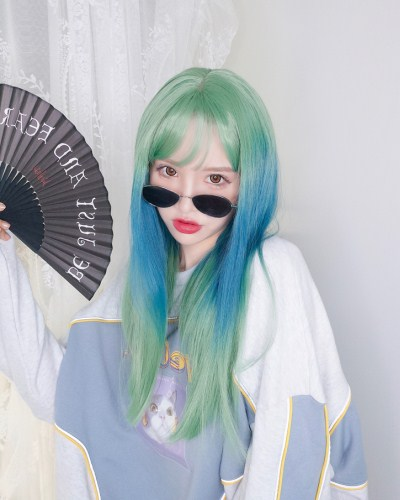"QJ010-24"" 2019 the most fashionable new green wefted cap wig"