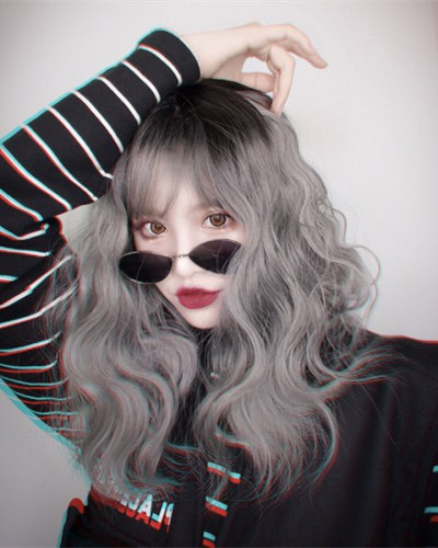 "QJ003-14"" 2019 the most fashionable new gray wefted cap wig"
