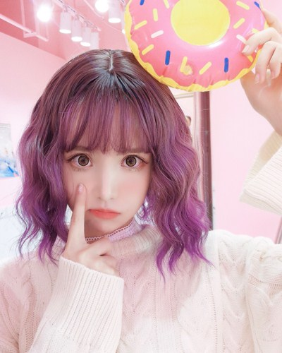 "QJ002-14"" 2019 the most fashionable new purple wefted cap wig"