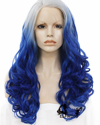 SD065-24'' Shoulder length gray gradient blue wave synthetic lace front wig