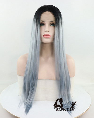 SD051-24'' Grey-blue unique style, heat resiatance synthetic lace front long wig