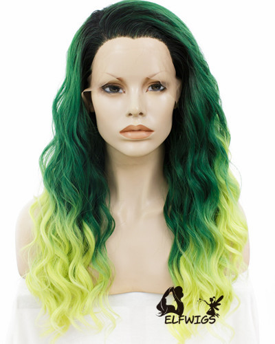 SD077-24'' Shawl wavy hair green gradient yellow synthetic lace front wig