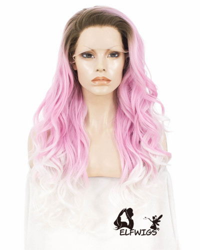 SD081-24'' Shawl wavy hair pink gradient white synthetic lace front wig