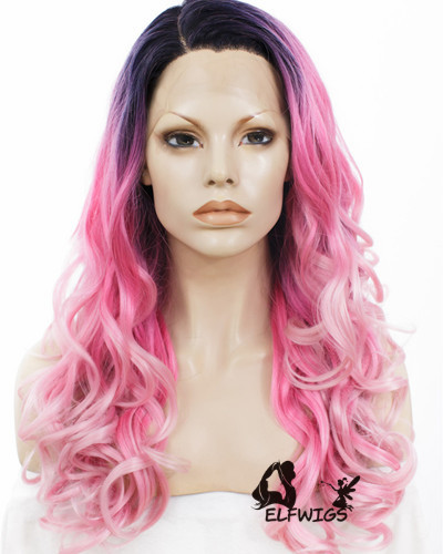 SD072-24'' Enchanting shawl pink mixed white synthetic lace front wig