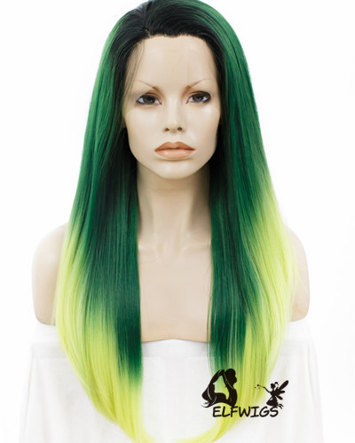 SD075-24'' Shawl straight hair green gradient yellow synthetic lace front wig