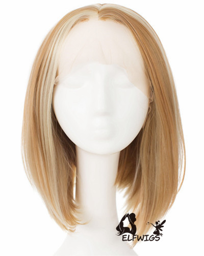SD091-14'' Light brown mixed with white angled bob synthetic lace front wig
