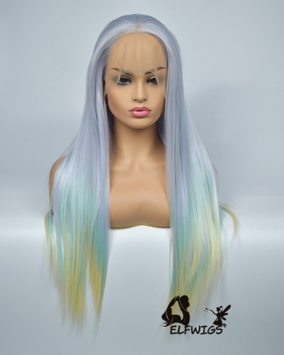 SD093-24'' Long hair blue gradient green gradient yellow synthetic lace front wig