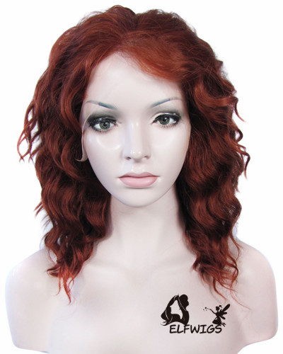 SD094-14'' Stylish wavy reddish brown short hair synthetic lace front wig