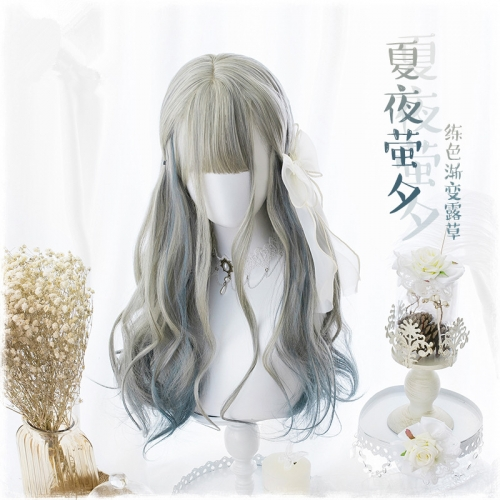 "QJ027-24"" Lolita light gray gradient blue wavy wefted cap wigs"