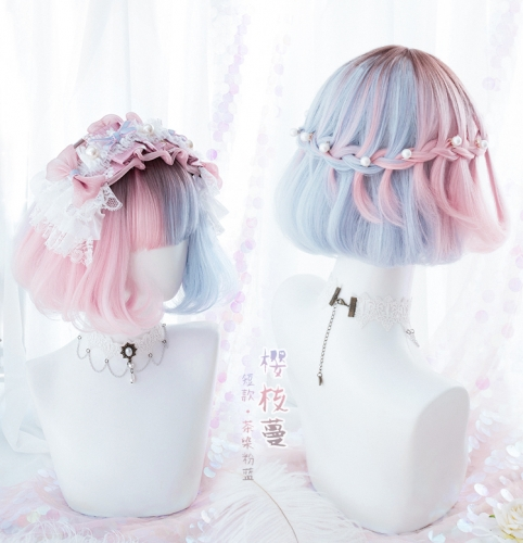 "QJ021-14"" Lolita short tea dyed pink blue bob wefted cap wigs"