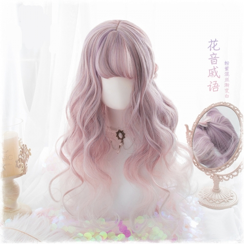 "QJ018-24"" Lolita pink purple gradient white wavy wefted cap wigs"
