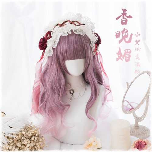 "QJ030-24"" Lolita red purple gradient powder wavy wefted cap wigs"