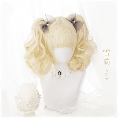 "QJ033-14"" Lolita egg milk yellow tiger mouth clip wefted cap wigs"
