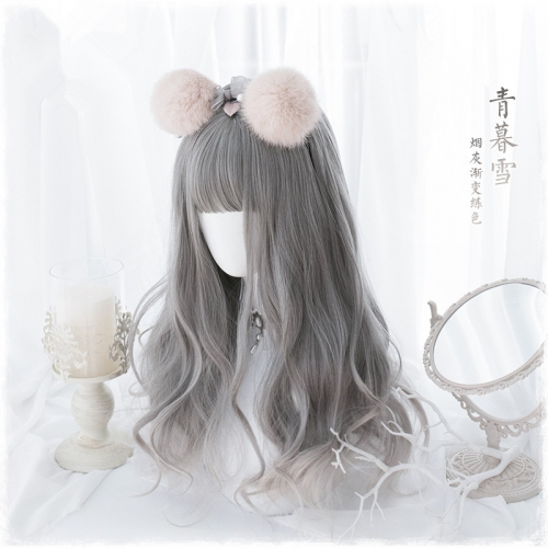 "QJ020-24"" Lolita smoke gray ancient wind wavy wefted cap wigs"
