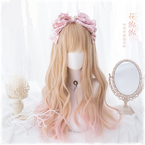 "QJ017-24"" Lolita Almond Gradient Pink wavy wefted cap wigs"