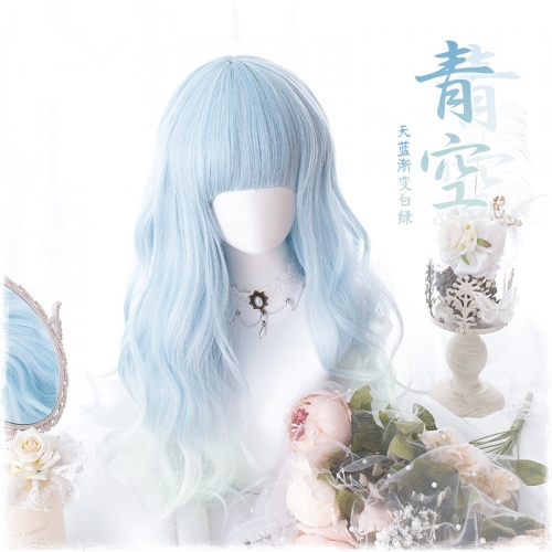 "QJ025-24"" Lolita sky blue gradient white green wavy wefted cap wigs"