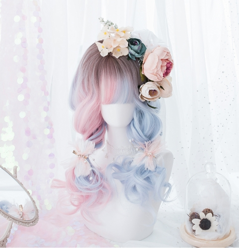 "QJ028-24"" Lolita tea dyed powder blue wavy wefted cap wigs"