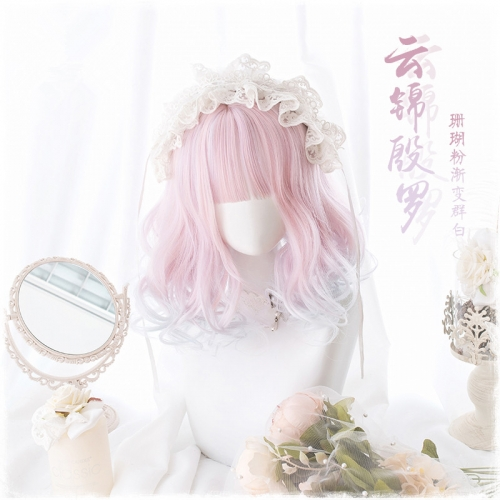 "QJ023-14"" Lolita coral powder gradient group white bob cute wefted cap wigs"