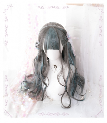 "QJ015-26"" Lolita Iron Grey Dyeing Thousand Grass Japanese wefted cap wigs"