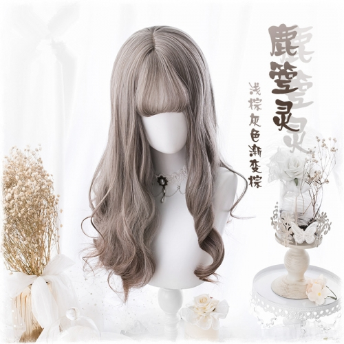 "QJ034-24"" Lolita light brown gray gradient brown wavy wefted cap wigs"