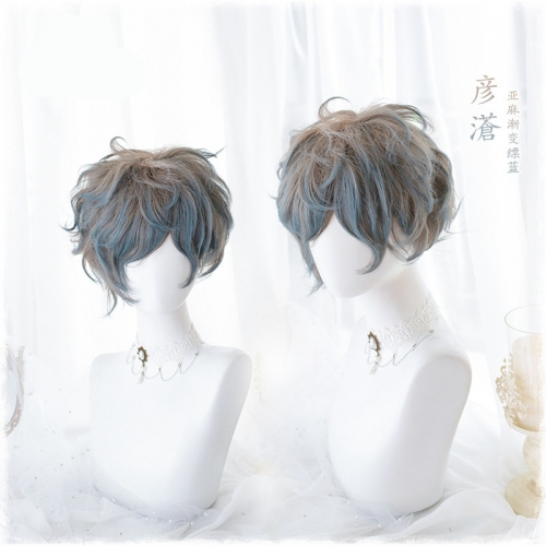 "QJ016-14"" Lolita linen gradient blue short hair wefted cap wigs"