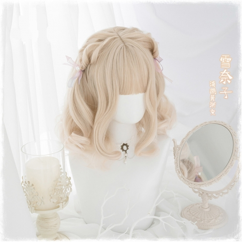 "QJ019-14"" Lolita Milk Golden Japanese Short Roll wefted cap wigs"
