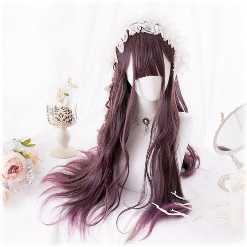"QJ022-26"" Lolita eliminates purple gradient bayberry wavy wefted cap wigs"