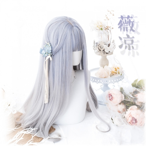 "QJ026-24"" Lolita light purple gradient gray straight hair buckle wefted cap wigs"