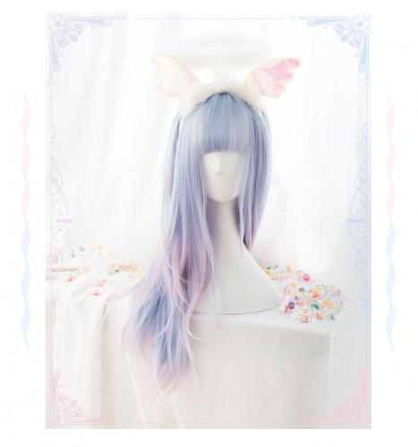 "QJ032-24"" Lolita blue powder gradient colorful unicorn air bangs wefted cap wigs"