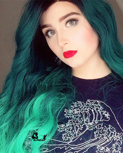 SD071-24'' Long dark slate gray ombre medium sea green with wave synthetic lace front wig