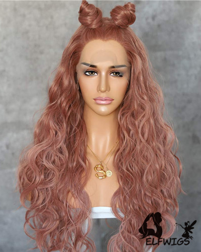 SD096-24 '' Shoulder Length Red Grapefruit Wavy Synthetic Lace Front Wig