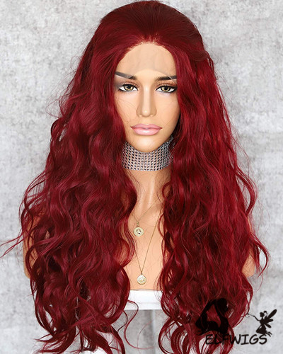 SD098-24 '' Shoulder Length Rose Red Wavy Synthetic Lace Front Wig